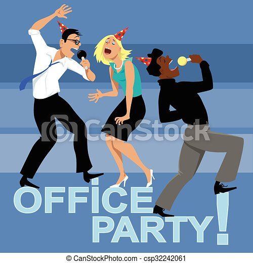 Office party invitation office party with three coworkers singing office party invitation csp32242061 stopboris Choice Image