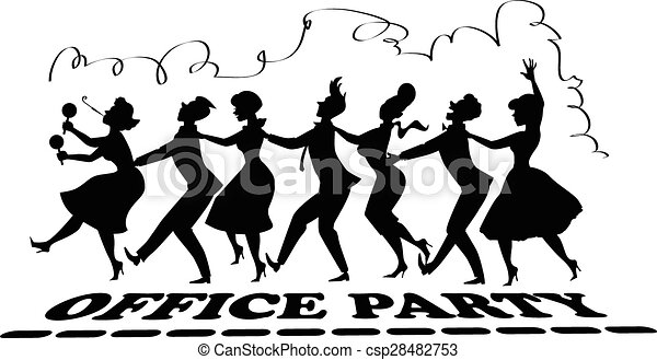office party silhouette black vector silhouette of group of people rh canstockphoto com christmas holiday party clipart company holiday party clipart