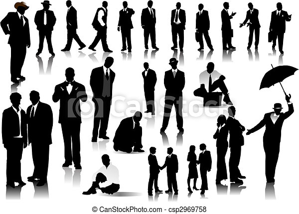Office people silhouettes. Vector with one click color change - csp2969758