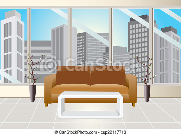 Office reception room. Reception room and office building... vector ...