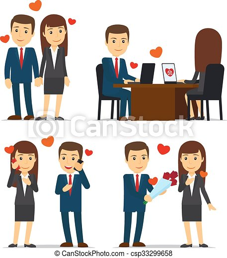 office romance or love affair at work vector illustrations