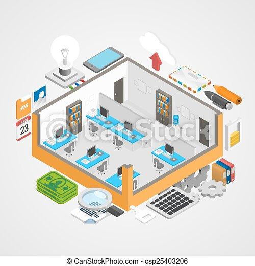 Office room icons set art. vector illustration vector clipart ...