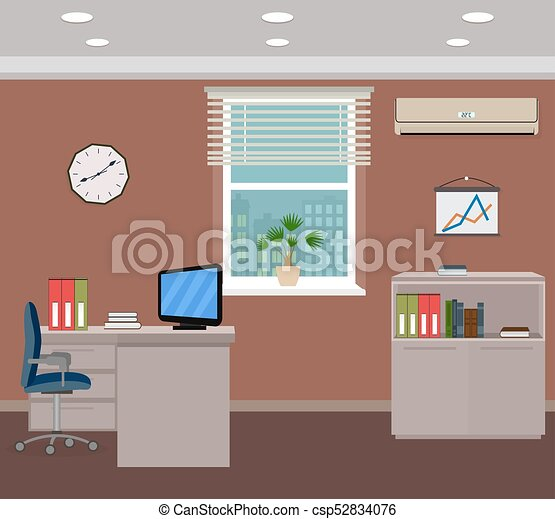 Office room interior design. inside workplace with... vectors ...