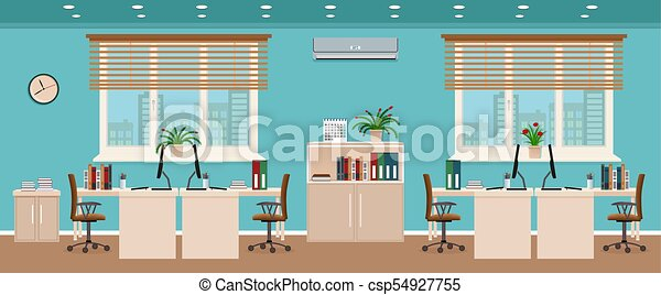 Office room interior including four workspaces with... clipart ...