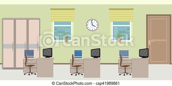 Office room interior including three work spaces with... clip art ...