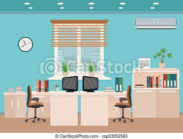 Office room interior including two work spaces with... clip art ...