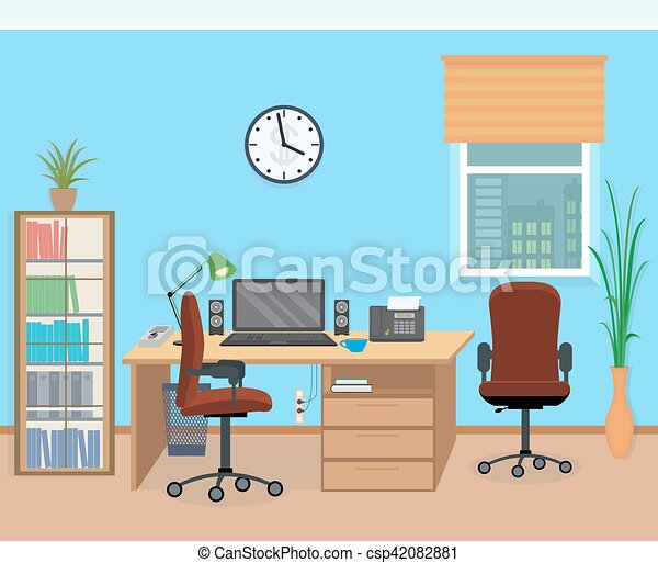 Office room interior with furniture and equipment. flat style vector ...