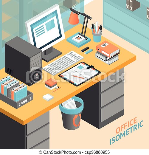 office room isometric design concept illustration . Office room work ...
