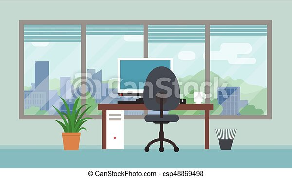 Office room with big window and landscape. Office room... eps ...