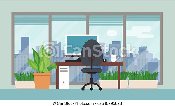 Office room with green plants. Office room interior with... vectors ...