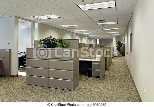 Office space with cubicles - csp8050959