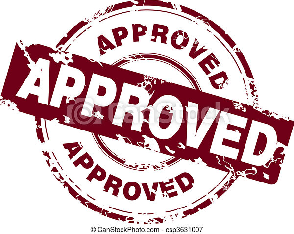 Office stamp with the word approved - csp3631007