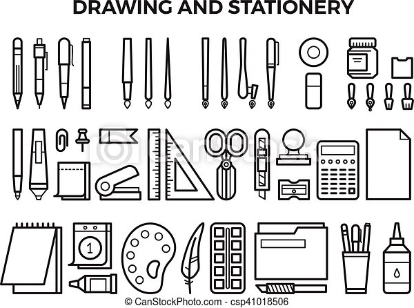 office drawing tools. Office Stationery And Drawing Tools Line Icons - Csp41018506 T