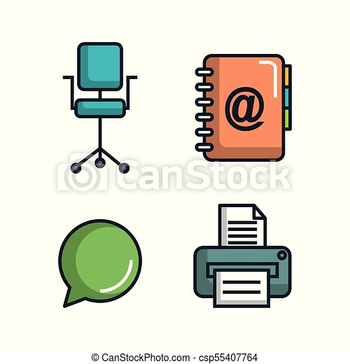 office stationery equipment supplies icon set vector clip art rh canstockphoto com office supply clip art free office supply clipart