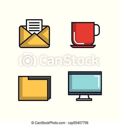 office stationery equipment supplies icon set vector clipart rh canstockphoto com office supplies clipart template office supplies clipart black and white