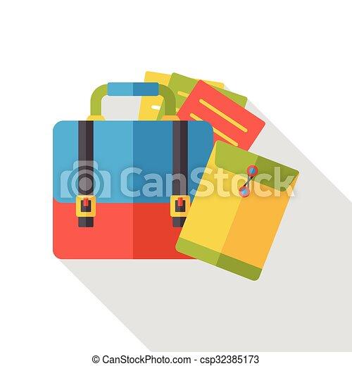 office suitcase flat icon - csp32385173