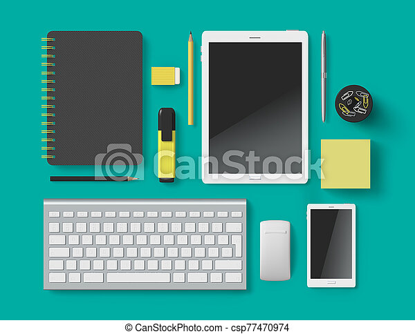 Office supplies accessory set 3D on color background - csp77470974
