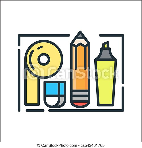office supplies icon color clip art vector search drawings and rh canstockphoto com office supplies clip art free office school supplies clipart
