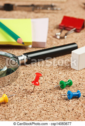 office supplies in a mess on the table - csp14083677
