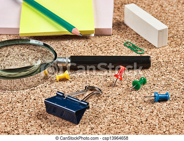office supplies in a mess on the table - csp13964658