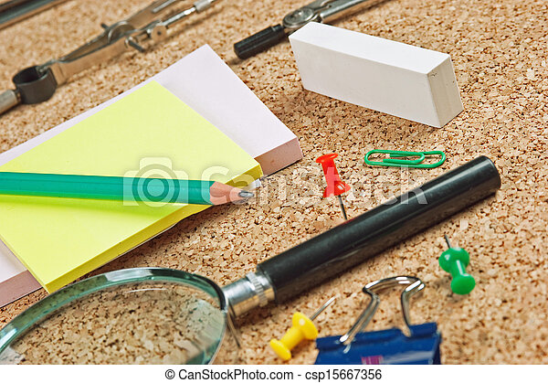 office supplies in a mess on the table - csp15667356