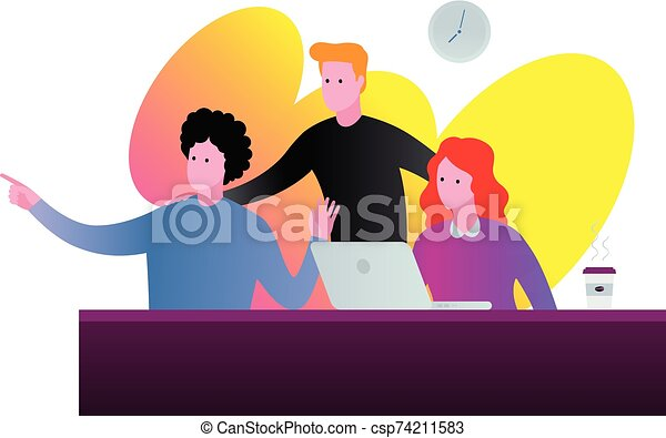 Office team discussion illustration in vibrant colors. - csp74211583