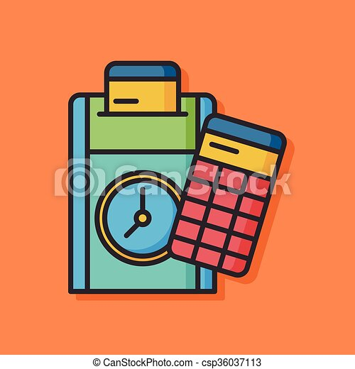 office time clock vector icon - csp36037113
