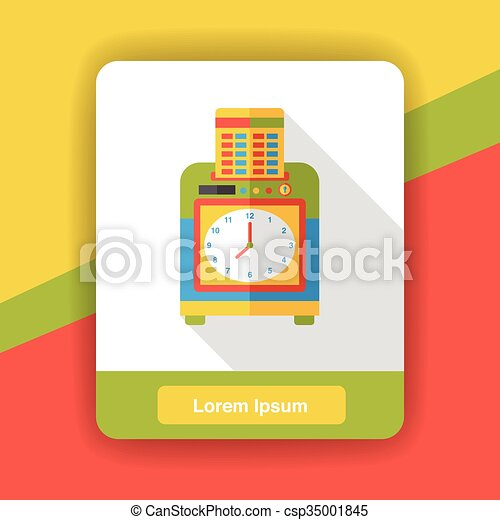 office Time clocks flat icon - csp35001845