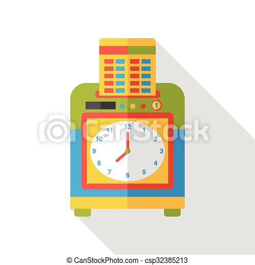 office Time clocks flat icon - csp32385213