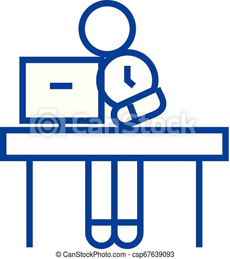 Office time management line icon concept. Office time management flat vector symbol, sign, outline illustration. - csp67639093