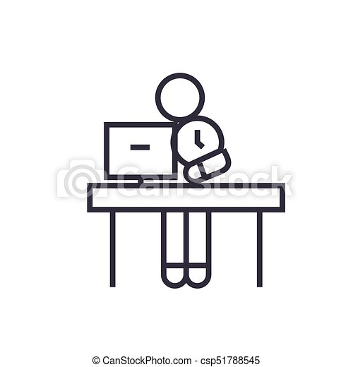 office time management linear icon, sign, symbol, vector on isolated background - csp51788545