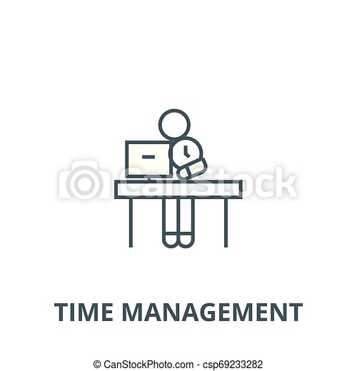 Office time management vector line icon, linear concept, outline sign, symbol - csp69233282