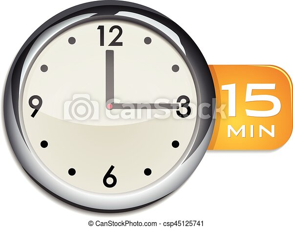 Office wall clock timer 15 minutes vector illustration isolated on