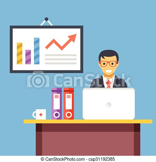 Office work. office worker at desk in office room. flat... vector ...