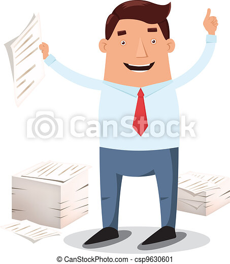 Office worker and piles of papers - csp9630601