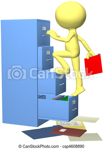 Office worker files folder in 3D filing cabinet - csp4608890