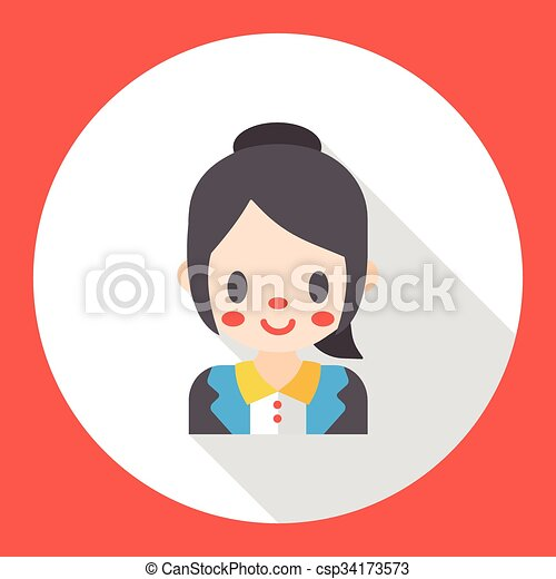office worker flat icon - csp34173573
