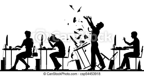 Office worker rebellion illustration - csp54453918