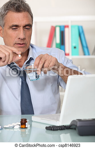 Office worker suffering from hangover - csp8146923