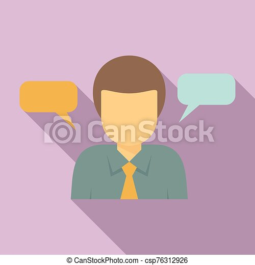 Office worker thinking icon, flat style - csp76312926
