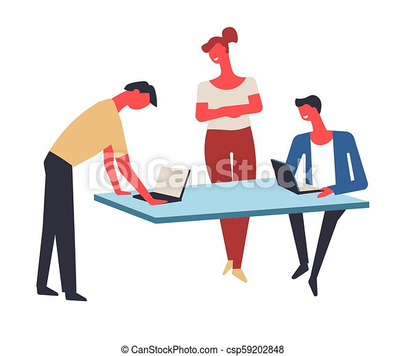 Office workers work in team at table with laptops - csp59202848
