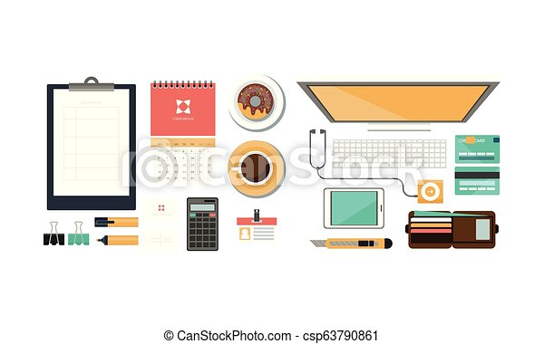 Office workplace, organization of working space, view from above vector Illustration - csp63790861
