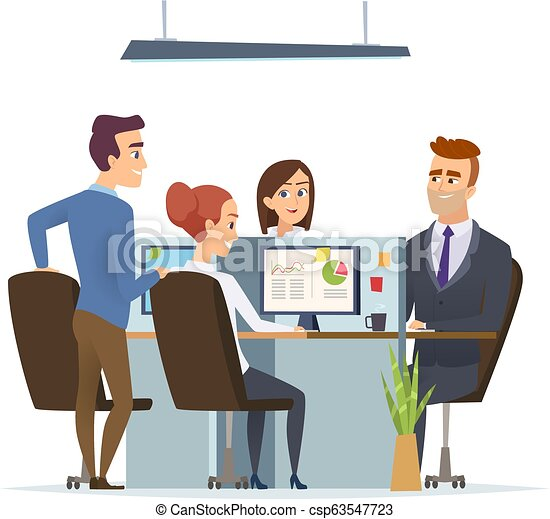 Office Workplace Team Business Managers Male And Female Working And Talking Sitting Table Dialog Of Group People Vector