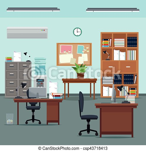 Office Workspace Desk Chair Table Plant Furniture Books Cabinet Water Clock    Csp43718413