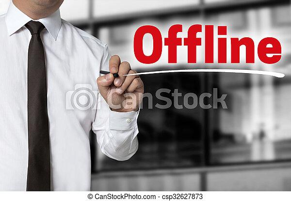 offline is written by businessman background concept - csp32627873