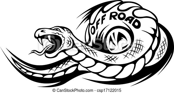 Offroad Snake Tattoo Danger Snake For Offroad Mascot Or
