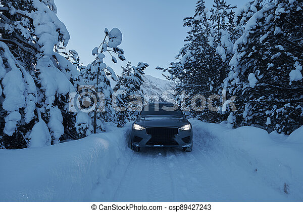 offroad suv car on icy winter north road - csp89427243