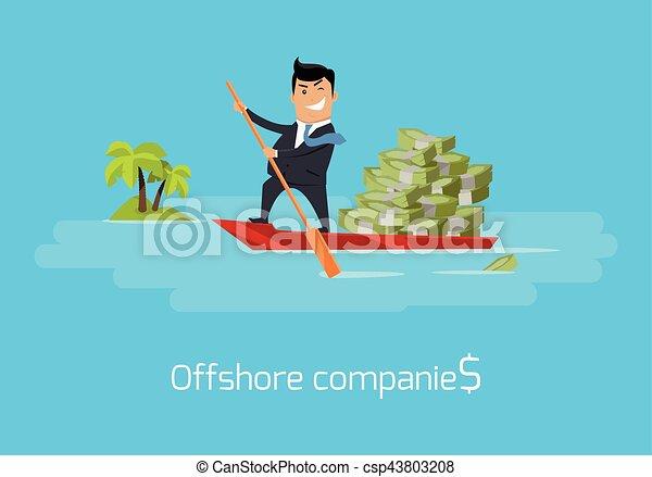Offshore Companies Concept Flat Design Vector - csp43803208