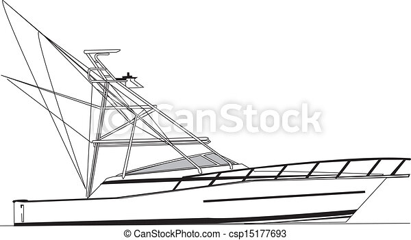 Offshore Fishing Boat Vector 43 Foot Offshore Fishing Boat Rigged For Offshore Fishing Of Large Sport Fish