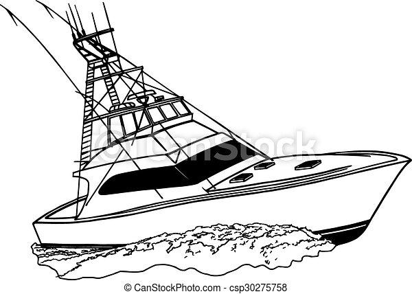 Offshore Fishing Sport Boat Tuna Chaser Custom Built Boat For Tuna Offshore Ocean Fishing Boat Vector